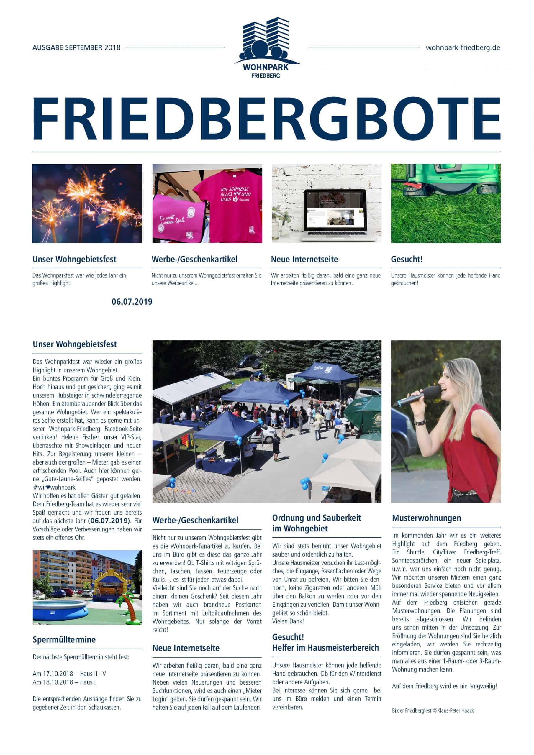 Friedbergbote – September 2018
